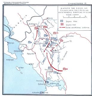 σχεδιάγραμμα μάχης ΕΔΕΣ - ΕΛΑΣ (Δεκεμβριος 1944)