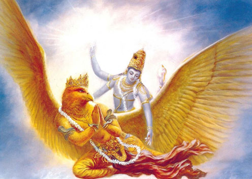 Hindu-god-Vishnu-with-the-Garuda