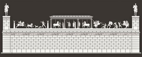 Αναπαράσταση του μνημείου από τους αρχαιολόγους της Εφορείας Αρχαιοτήτων Πιερίας, Ματθαίο Μπέσιο και Αθηνά Αθανασιάδου.