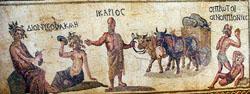 Μωσαϊκό πάτωμα από το Σπίτι του Διόνυσου στην Κάτω Πάφο. Παριστάνει τον μύθο του Διόνυσου και της Ακμής, το Βασιλιά Ικάριο και ''Τους πρώτους πότες κρασιού''.Mosaic floor from the House of Dionysus at Kato Paphos. It depicts the legend of Dionysos and Akmi, King Ikarios and ''The first men to drink wine''.
