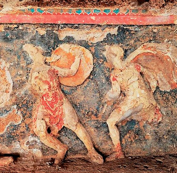 Πολεμική σκηνή στη ζωφόρο του Τάφου της κρίσεως.