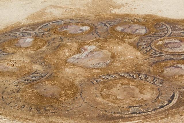 Η ανασκαφή του Τμήματος Αρχαιοτήτων Κύπρου εντός της «νεκρής» ζώνης στην κοινότητα Ακακίου της επαρχίας Λευκωσίας έφερε στο φως  ψηφιδωτό , που οι αρχαιολόγοι το τοποθετούν στον 4ο π.Χ αιώνα και  απεικονίζει παράσταση αρματοδρομιών σε εξέλιξη εντός ιπποδρόμου και πλούσιο γεωμετρικό διάκοσμο, Τρίτη 9 Αυγούστου 2016. Το ψηφιδωτό  εντυπωσιάζει με τη θεματολογία του, που είναι μοναδική στην Κύπρο, αλλά και για την υψηλή ποιότητα κατασκευής του. ΑΠΕ-ΜΠΕ/ΓΤΠ/ΣΤΑΥΡΟΣ ΙΩΑΝΝΙΔΗΣ