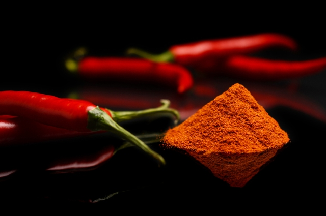 Studio Shot Chilli Pepper, Cayenne Pepper Isolated On Black